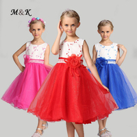 Flower Soft Cotton Net Girl Dresses 2017 New Available 4 9 Years Old 6 Colors Part