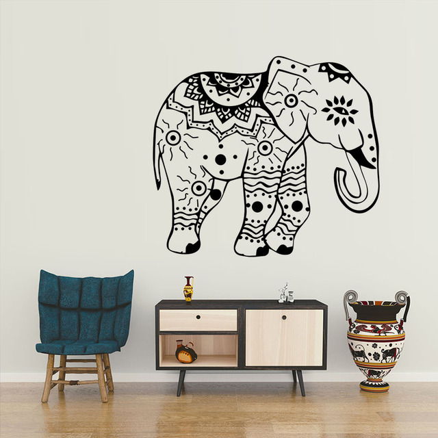 Elephant Wall Decals Indian Elephants Lotus Vinyl Decal Sticker Animals  Interior Design Art Mural Living Room