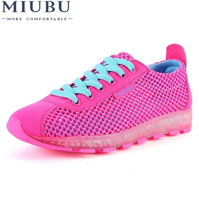MIUBU Women Shoes 2018 Hot Fashion Breathable Mesh Light Walking Tenis Feminino Casual Woman Sneakers