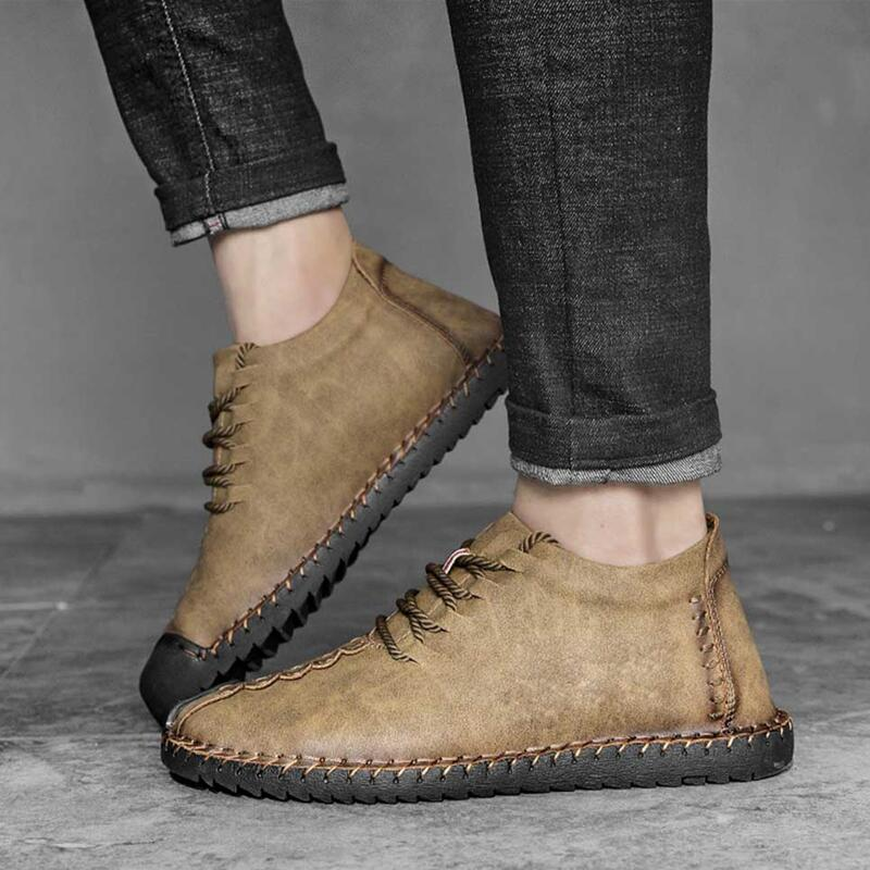 Classic Men Boots Winter Plush Warm Snow Boots Mens Winter Boots Lace-Up Autumn Basic Driving Ankle Shoes Plus Size 38-48