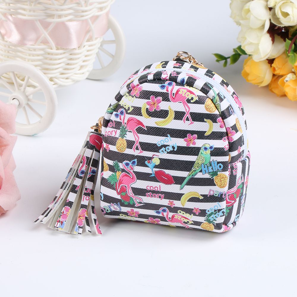 2018 Fashion Women PU Unicorn Mini Wallet Card Key Holder Zip Coin Purse Clutch Bags Flamingo Jewelry Keys Pouch For Woman Girl все цены