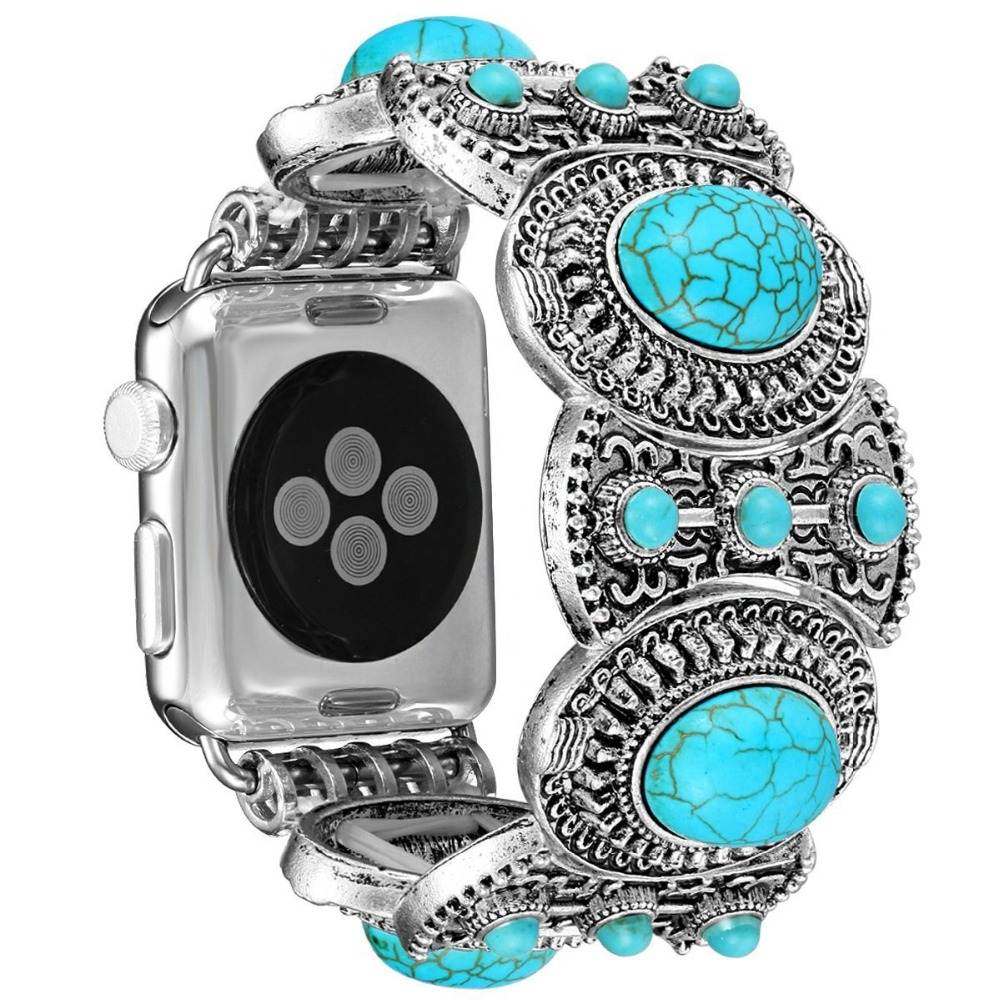 EIMO Link Bracelet for Apple Watch band correa 42mm 38mm Turquoise Jewelry Strap Wrist belt watchbands for iwatch series 3/2/1 цена