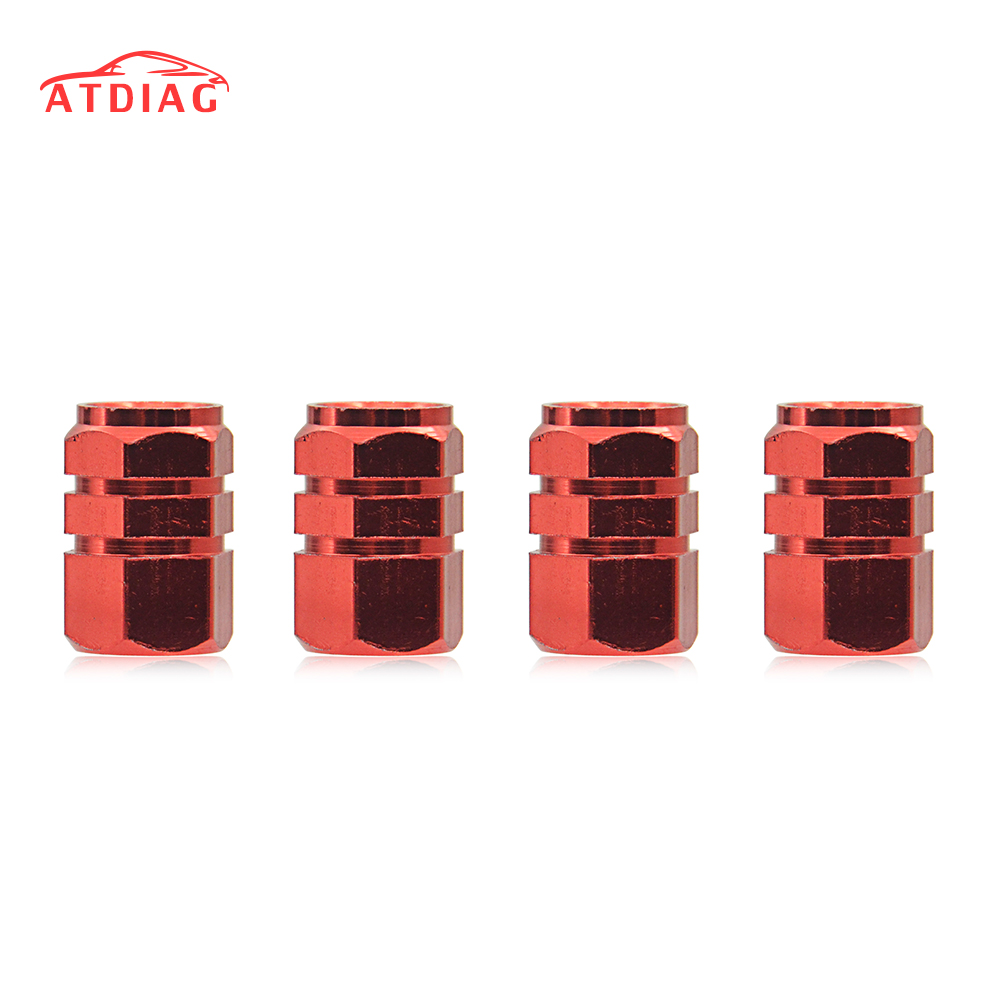 4pcs Red Aluminum Car Motorcycle Bicycle Wheel Tire Tyre Valve Stem Caps Cover