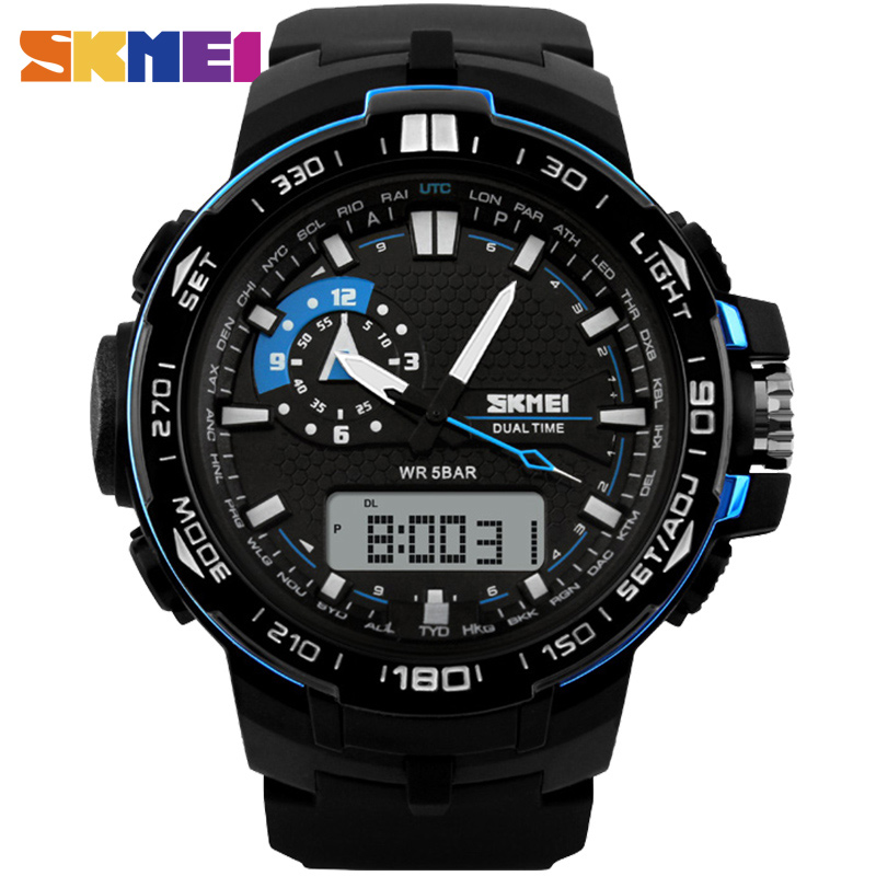 SKMEI Big Dial 1081 font b Men b font Sport Watch Dual Display PU Strap Outdoor