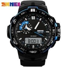 SKMEI Dial 1081 Hombres Reloj Deportivo de Doble Pantalla Grande Correa de PU Impermeable Al Aire Libre Corriendo Relojes Digitales
