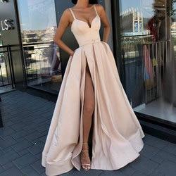 Вечернее платье большого размера, с высоким разрезом, для выпускного бала, сатиновое, королевское синее, на тонких бретельках, милое, сексуа...