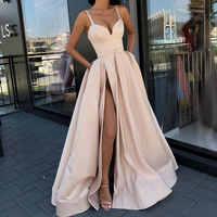 HOT sale A LineEvening Dress with High Slit Satin Royal Blue Spaghetti Straps Sweetheart sexy vestidos de fiesta de noche abiye