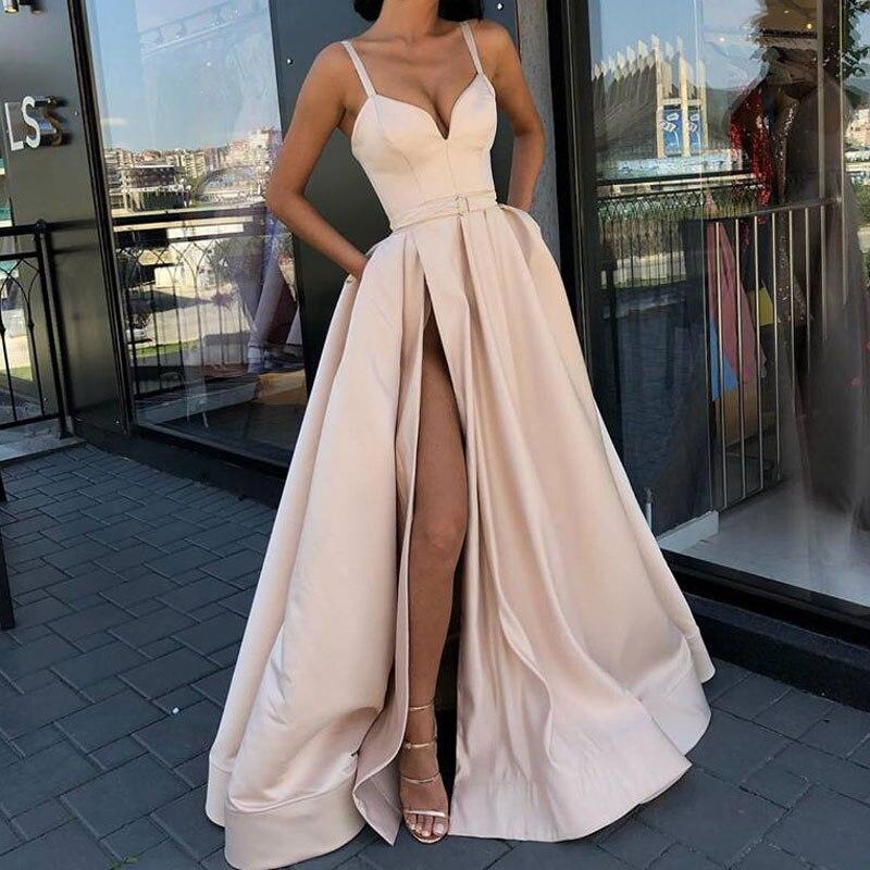 Plus Size Evening Dress With High Slit Prom Satin Royal Blue Spaghetti Straps Sweetheart Sexy Vestidos De Fiesta De Noche Abiye