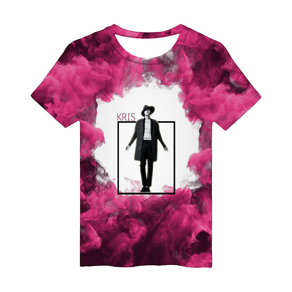 EXO Idols Kris Summer 3D T Shirt Wome Men 2018 hip hop short sleeve cotton 3D printed T-Shirt Women Funny TShirt Cartoon Tops