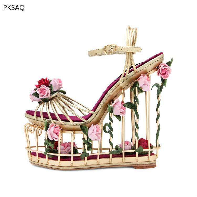 Lady Super High Heel Shoes Gabbie Uccelli Donne Sandali Fiori Festa di Nozze D'oro Cunei Locale Notturno Impermeabile Scarpe Dolce