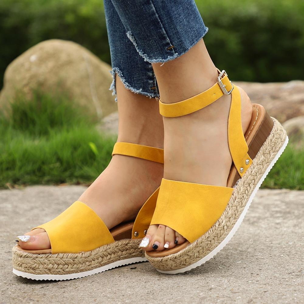 SHUJIN Wedges Shoes Platform Sandals High-Heels Plus-Size Flip-Flop Femme Women Summer