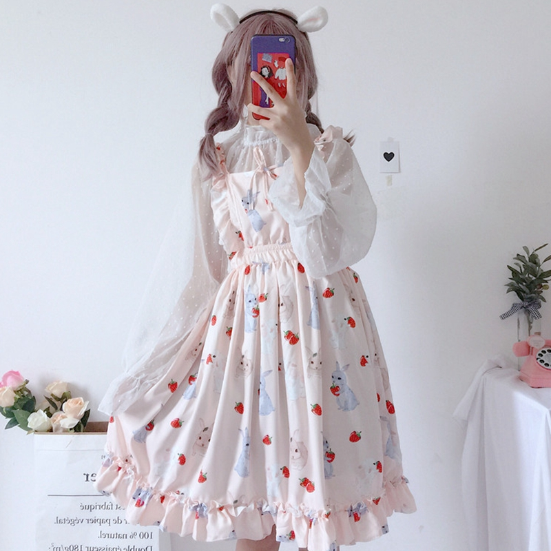 Women sweet Lolita dess Girl cute rabbit pink dress strawberry ruffled bubble Dress Puff princess dress seethrough chiffon shirt