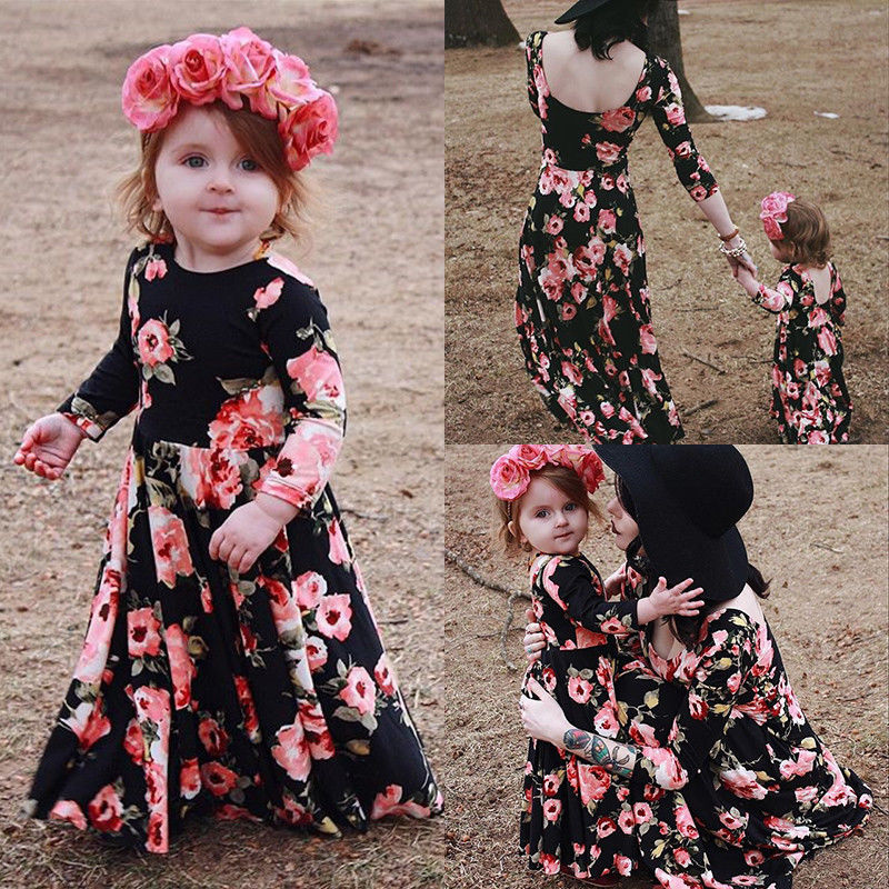 2018 Fashion Family Matching Women Mother and Daughter Floral Dress Party Long Sleeve Summer Maxi Dresses attractive high slit floral print maxi dress for women