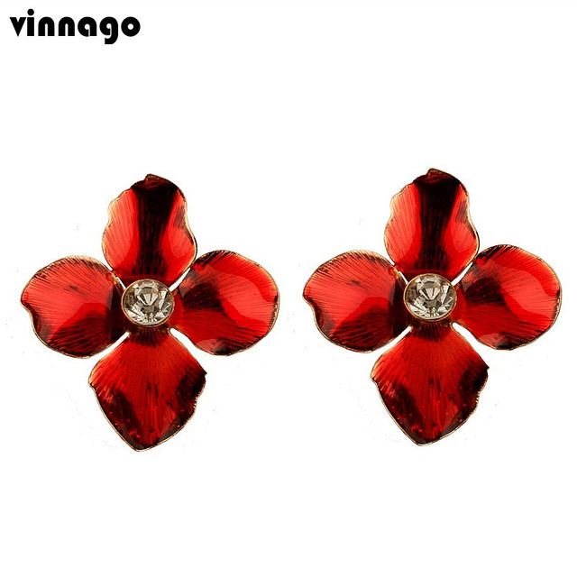 Vinnago Fashion Red Flower Earrings Statement Earring Woman 2018 Gold Color Rhinestone Stud