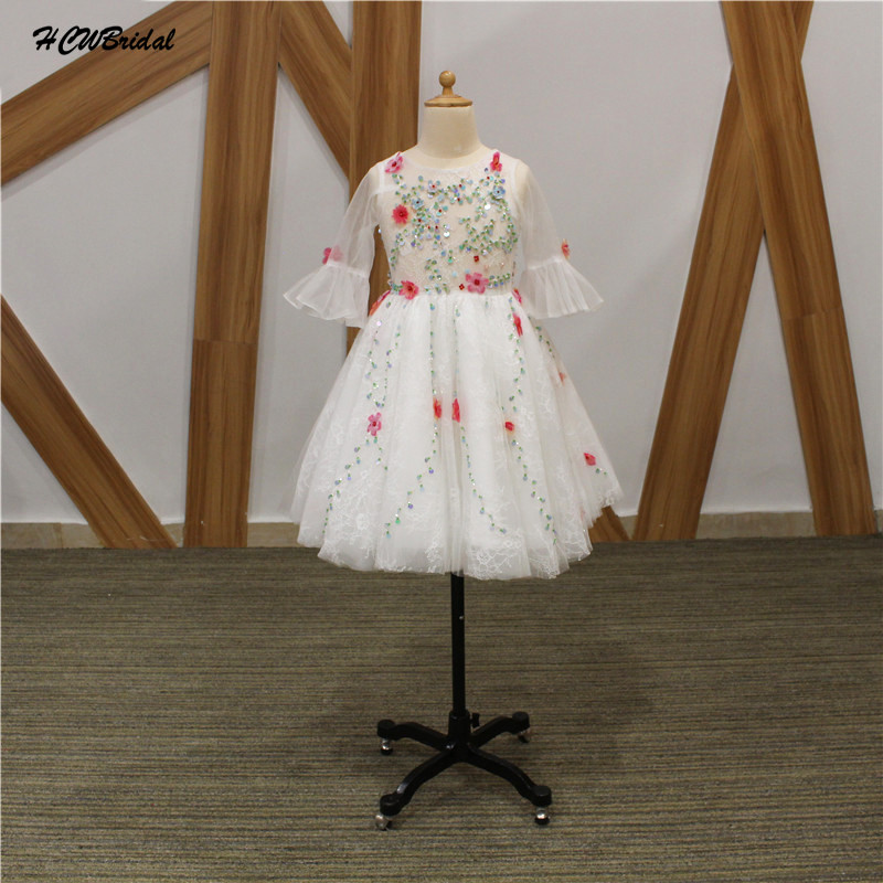 Short White   Flower     Girl     Dresses   2019 New Colorful Beads   Flowers   Lace Junior Wedding Party   Dress   Custom Made First Commuion Gown