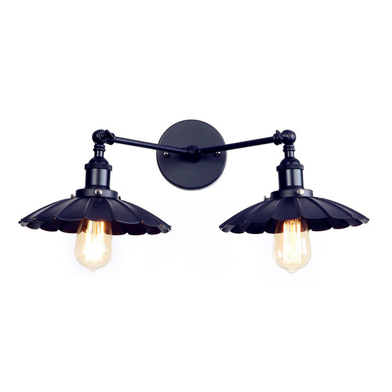 2 Heads Black Retro LED Wall Light Fixtures Home Lighting Iron Metal Loft Industrial Vintage Wall Sconce Lamp Lampara Pared iwhd 2 heads black retro led wall light fixtures home lighting iron metal loft industrial vintage wall sconce lamp lampara pared