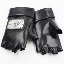 Hot Japan Anime Naruto Kakashi Cosplay Pu Gloves Black Accessories Half Finger Breathable Men and Women