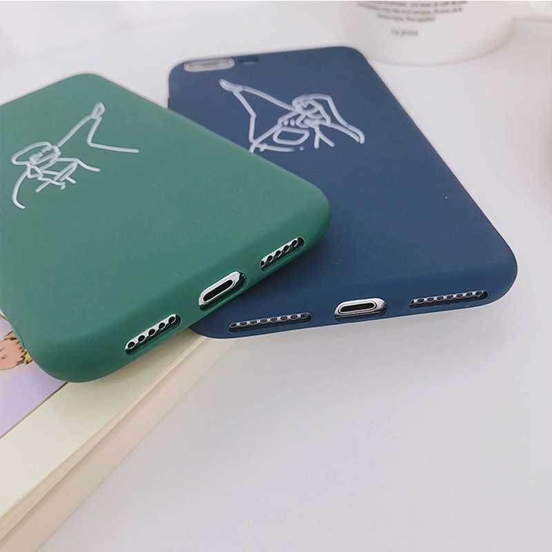 Ретро художественные линии пары чехол для iPhone X чехол для iPhone 6 6 S Plus 7 8 Plus ультратонкий мягкий TPU чехол мультфильм Чехлы Капа