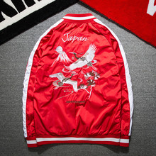The new 2017 Japanese cranes couples clothing embroidery men's jacket