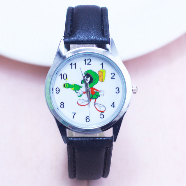 2018 Cartoon Watches Kid Girls boys Leather Straps Wristwatch Children Marvin ma