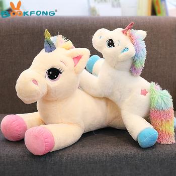 BOOKFONG 40-60cm jednorożec nadziewane zwierzęta Pluszowa zabawka jednorożec Zwierzęta Koń wysokiej jakości kreskówka prezent dla dzieci tanie i dobre opinie Stuffed Plush Animals Bawełna PP Horse Plush Nano Doll no fire TV Movie Character unicorn horse Unisex 3 lat Genius