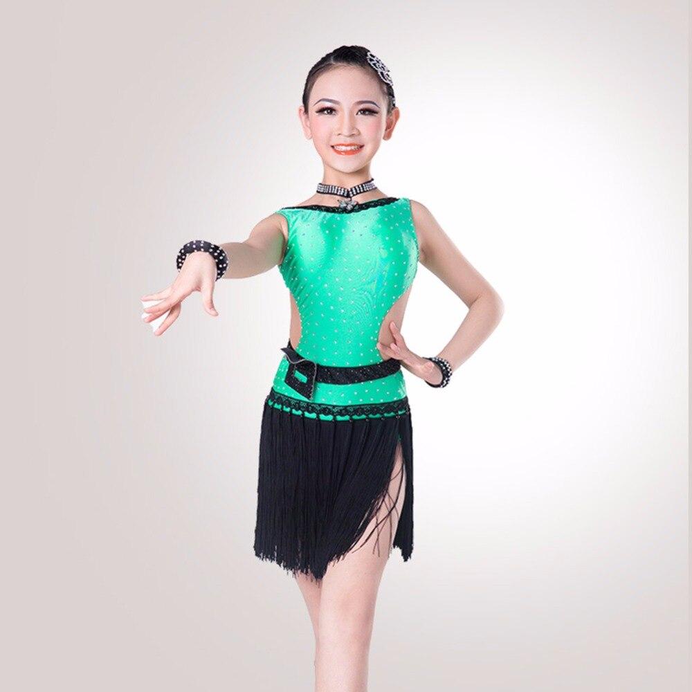 2017 New Girl Latin Dance Dress Nice Tassel Material Free font b Leggings b font Children