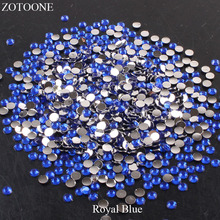 ZOTOONE Resin Flat Back Crystal Nails Royal Blue Rhinestone Applique Non Hotfix Stones And Crystals For Clothes Decoration E
