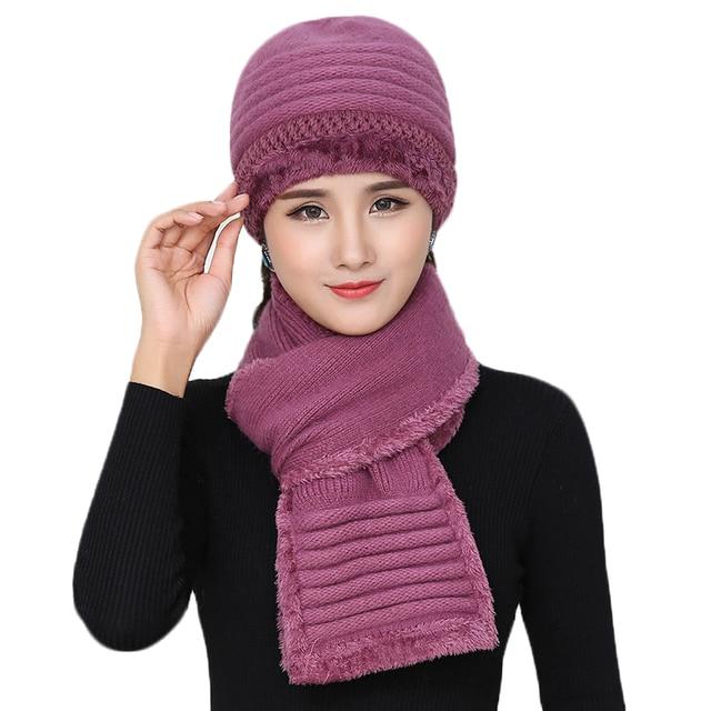 Novo Inverno Mulheres de Pele De Coelho Chapéu Conjunto Cachecol de Lã  Quente Malha Lenços De 630125b61d1