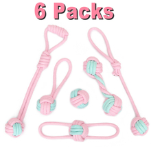 6 Packs Cotton Rope Pet Dog Chew Toy for Dog Outdoor Teeth Clean Chewing Ball Toy for Small Dogs Puppy Interactive Durable Toys цены