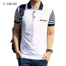 Y.ABLISS 2017 Summer Mens Casual Polos Cotton Short Sleeve Slim Polo Shirts Turn-Down Collar England Style Striped Men Polos