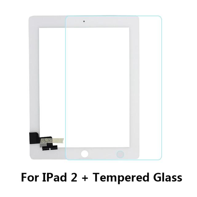 Máy tính bảng Cảm Ứng Màn Hình cho iPad2 A1395 A1396 A1397 Digitizer Phía Trước Cửa Sổ Thay Thế Màn Hình Cảm Ứng + Kính Cường Lực/Trung Khung