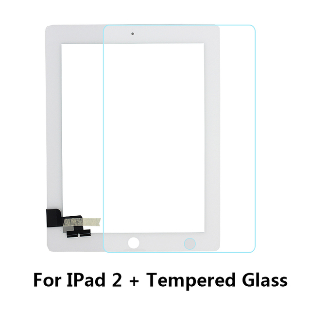 Tablet Touch Screen for iPad2 A1395 A1396 A1397 Digitizer Front Pane Replacement Touchscreen + Tempered Glass/ Middle Frame