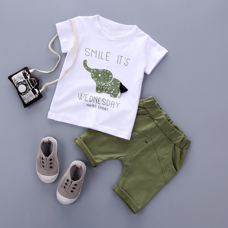 2017New Summer baby sets boys girls clothes short Sleeve T-shirt cotton shorts with Animal print children clothing set suit
