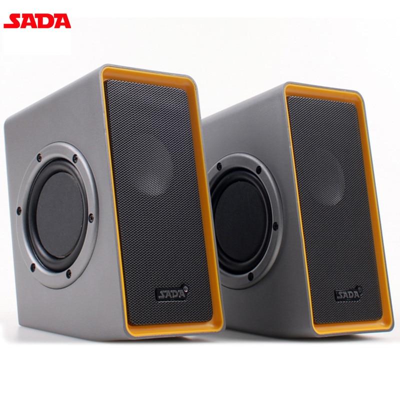 купить SADA V-151 Computer Laptop Subwoofer Mini Portable Speakers HiFi PC Notebook Speaker Desktop 3.5mm USB Media Music Player онлайн