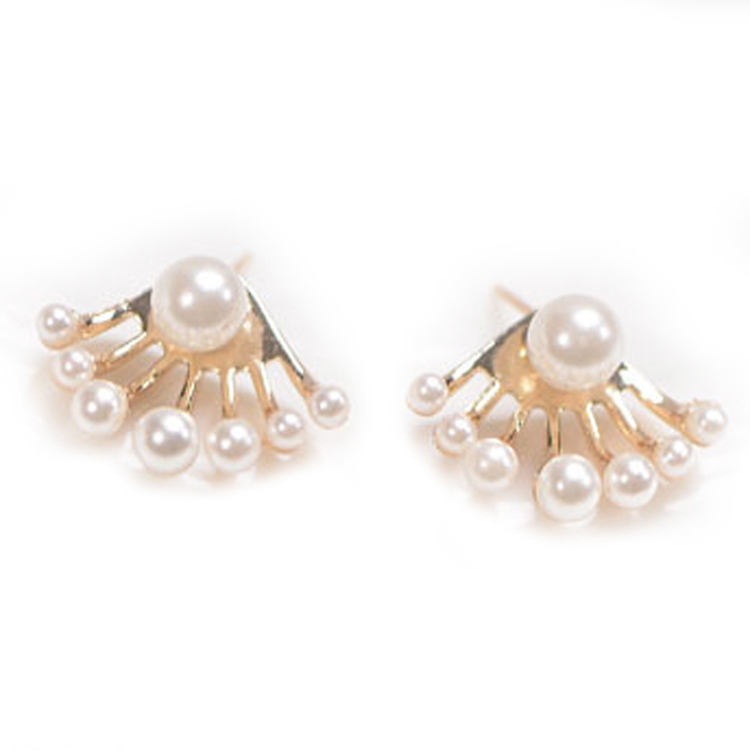 Charming Jewelery Accessories Crystal Simulated Pearl Woman Ear Stud Color White