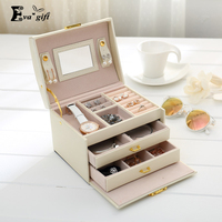 Portable PU Leather Jewelry Box Organizer Bracelets Earring Ring Casket Storage Case Jewelry Box Necklace Storage