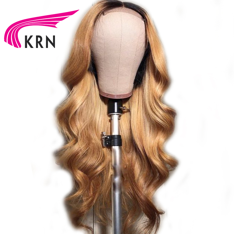 Transparen Pre Plucked Lace Front Human Hair Wigs With Baby Hair 13X3 Body Wave Remy Ombre