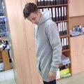 Мужская флисовые толстовки кофты стороны zip до подола дизайн долго толстовка мужчины ярусного капюшоном для мужчин толстовки и а; кофты