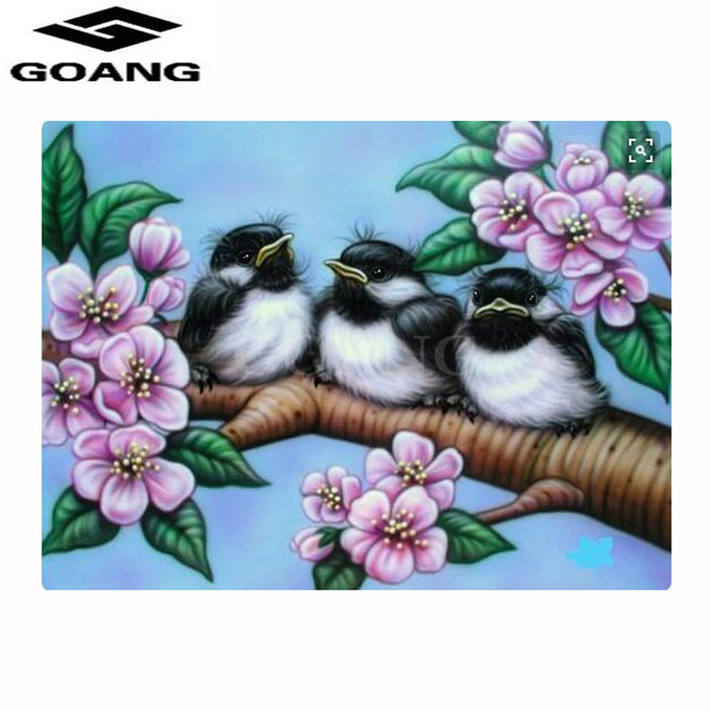 Goang 5d diy diamond painting cross stitch plum blossom trees and birds wall sticker painting diamond