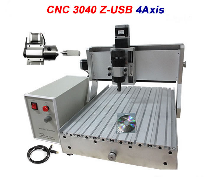 USB Port 3D CNC Router 3040F 4 Axis 500W CNC Engraver Machine for wood aluminum cnc router wood milling machine cnc 3040z vfd800w 3axis usb for wood working with ball screw