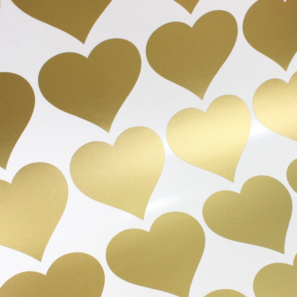 Free shipping Metallic Gold Wall Stickers Heart shaped pattern vinyl ...