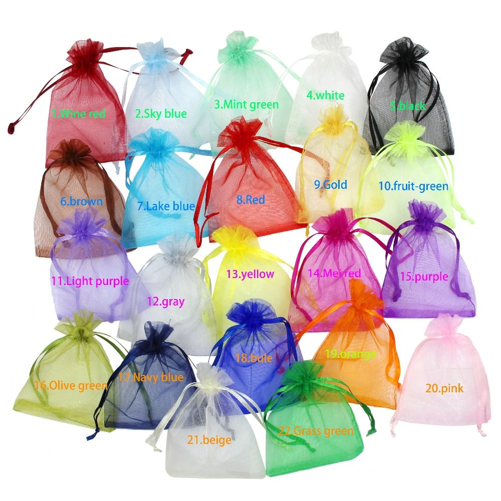 100Pc/lot 7x9 9x12 10x15 11x16cm Drawable Organza Bags Wedding Christmas Gift Bags Jewelry Packaging Organza Pouches Custom LOGO