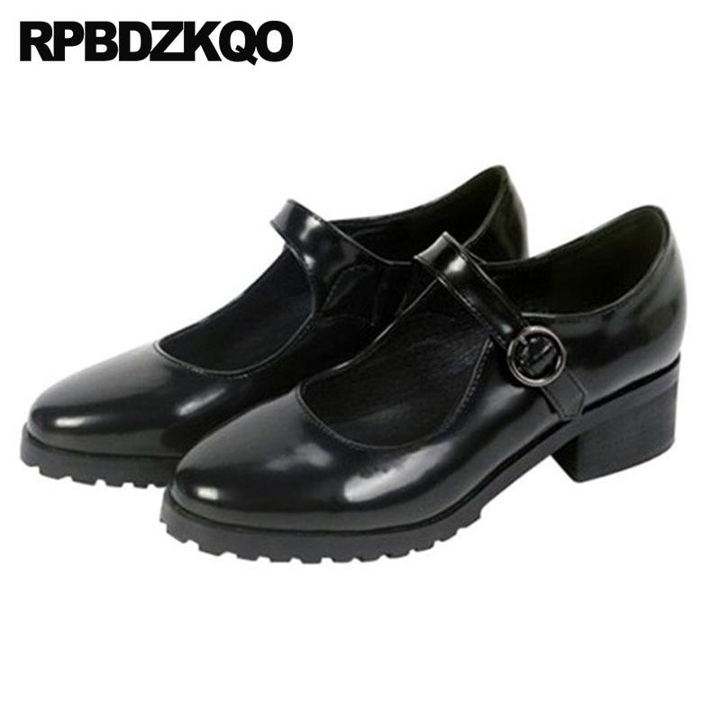 Bout Noir 34 Chaussures Rond Talons Automne Jane 4 Femmes Designer En Marque Cuir Mary 2018 Chunky Strap Cheville Verni Taille Moyen Japonais 1wTCavq