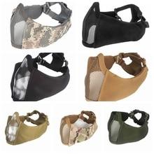 Airsoft Tattico Fan Esercito Camuffamento Gioco Maschera di Pollo Nuovo mezzo viso metal acciaio сетка maschera