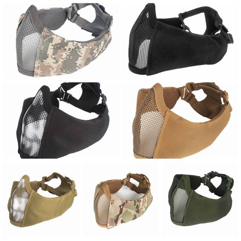 Airsoft Tattico Fan Esercito Camuffamento Gioco Maschera di Pollo Nuovo mezzo viso metal acciaio net mesh maschera