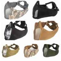 Airsoft Tattico Fan Esercito Camuffamento Gioco Maschera di Pollo Nuovo mezzo viso metallo acciaio net mesh maschera di