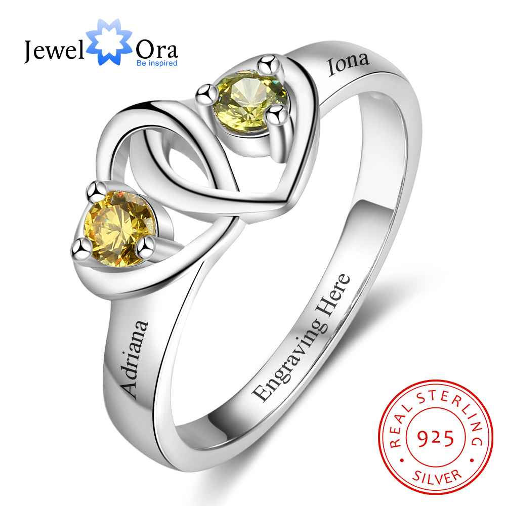 personalized heart birthstone custom engrave 2 names promise ring love 925 sterling silver anniversary gift jewelora ri103269 Heart to Heart Personalized Ring Custom Engrave Names & Birthstone Promise Rings 925 Sterling Silver Jewelry (JewelOra RI103273)
