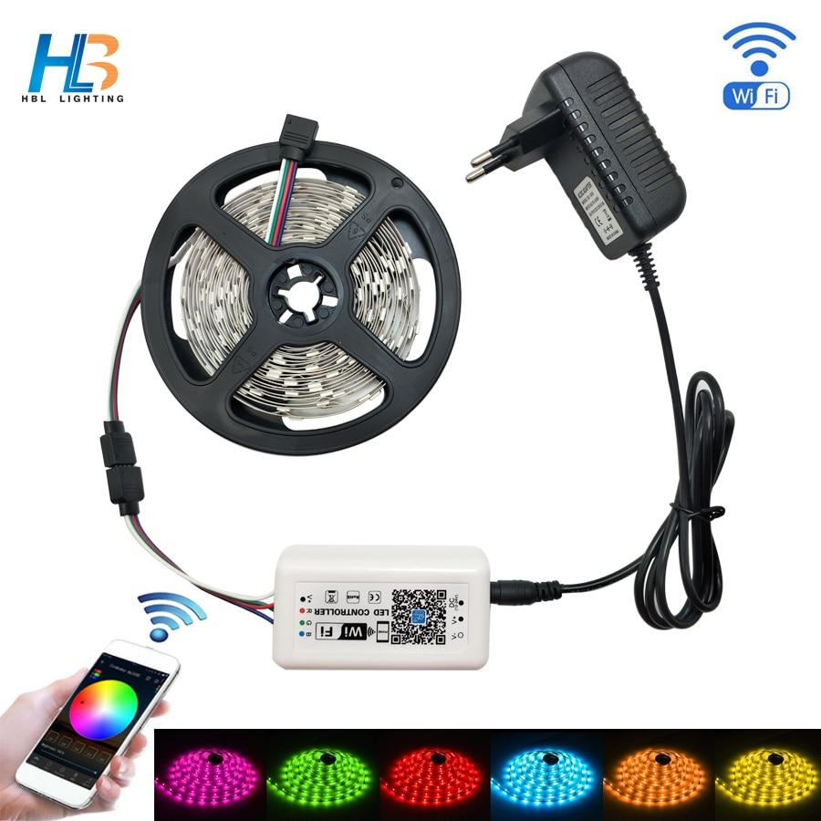 Tira de luces led HBL, 5 M, 2835, 5050, RGB, tira LED IP20, IP65, 10 M, 15 M, cinta led, cinta de diodo no impermeable, kit de Controlador led WiFi RGB luz de neón cinta Flexible signo de LED neón lámpara de luz nocturna 2835 5050 120LEDs/m tira de LED remoto 24Key 110V 220V
