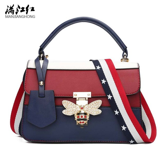 2b8bb20bbdb6 2017 Luxury Brands Designer Women Handbags USA Flag Straps Bee Leather  Shoulder Bag Small Crossbody Bags For Girls birthday gift