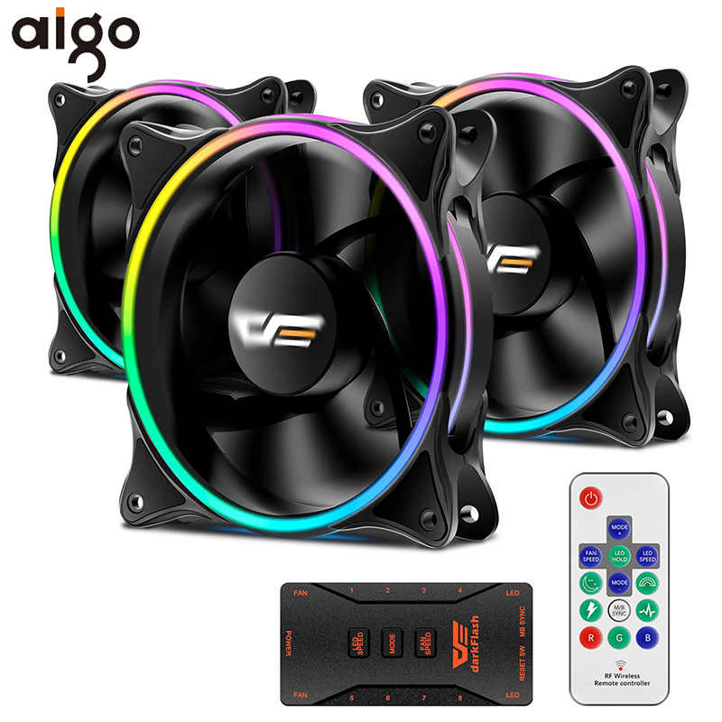 Aigo Komputer Pendingin RGB Fan 120 Mm Tenang IR Remote Warna-warni Fan MR12 ASUS Aura Sync Pendingin Menyesuaikan PC LED Case Fan